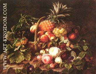 Oil Painting Spanish Woman Fruit Basket